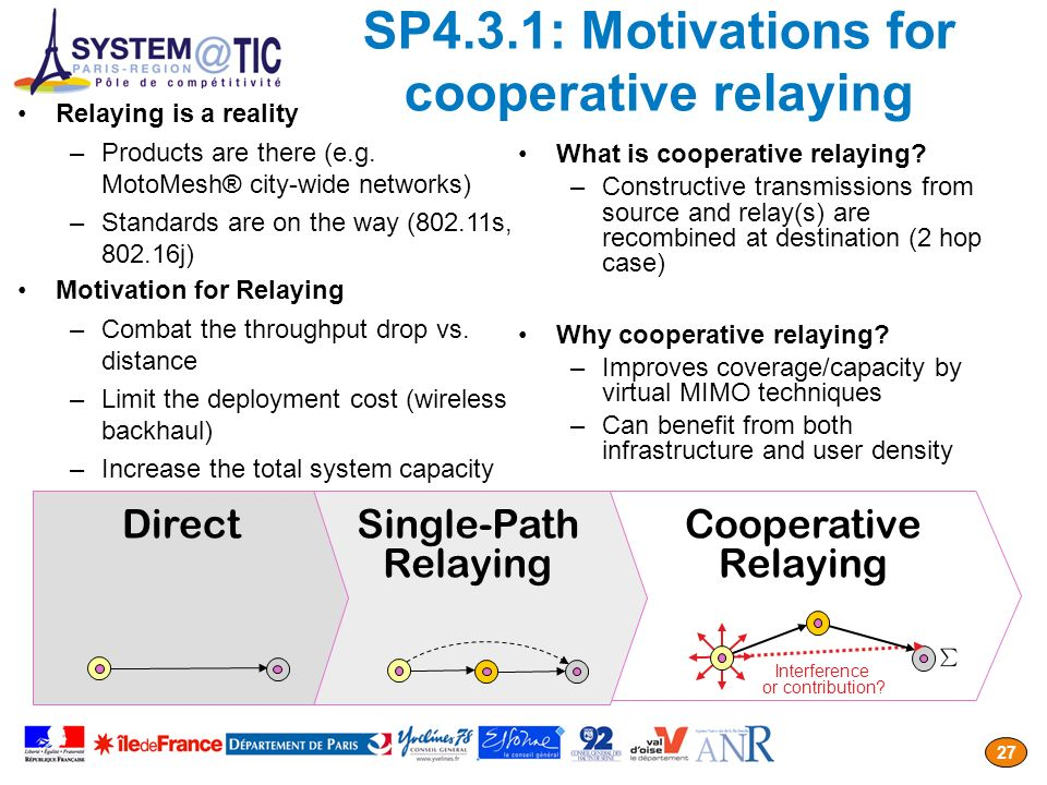 SP4.3.1: Motivations for cooperative relaying