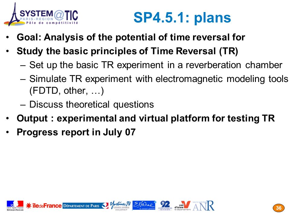 SP4.5.1: plans Goal: Analysis of the potential of time reversal for