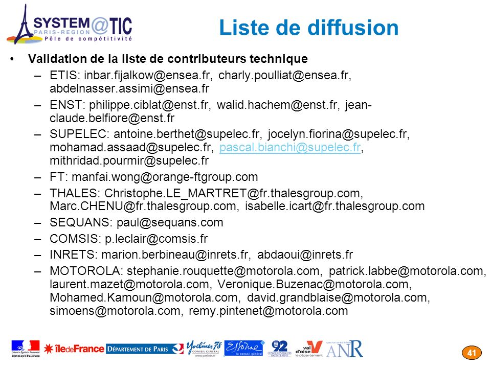 Liste de diffusion Validation de la liste de contributeurs technique