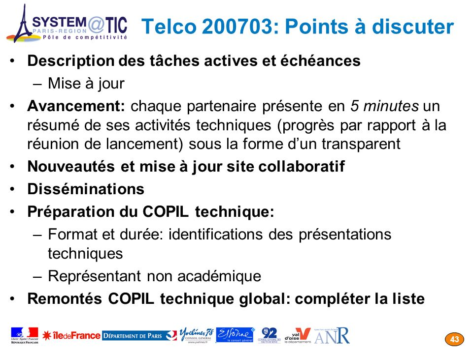 Telco 200703: Points à discuter