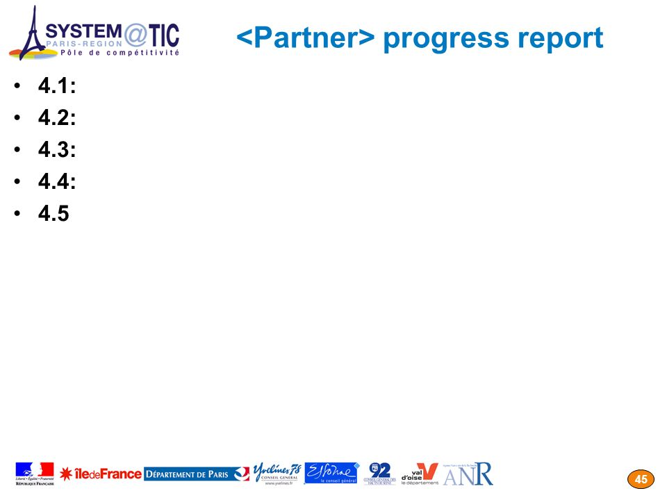 <Partner> progress report