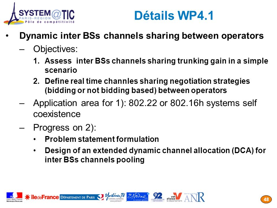 Détails WP4.1 Dynamic inter BSs channels sharing between operators