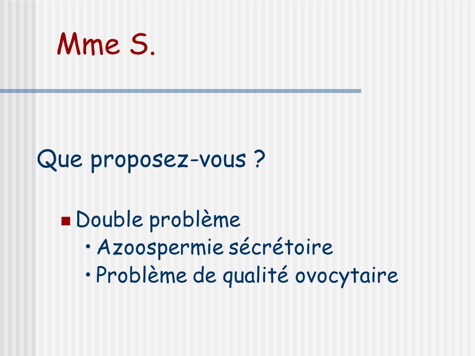 Mme S. Que proposez-vous Double problème Azoospermie sécrétoire