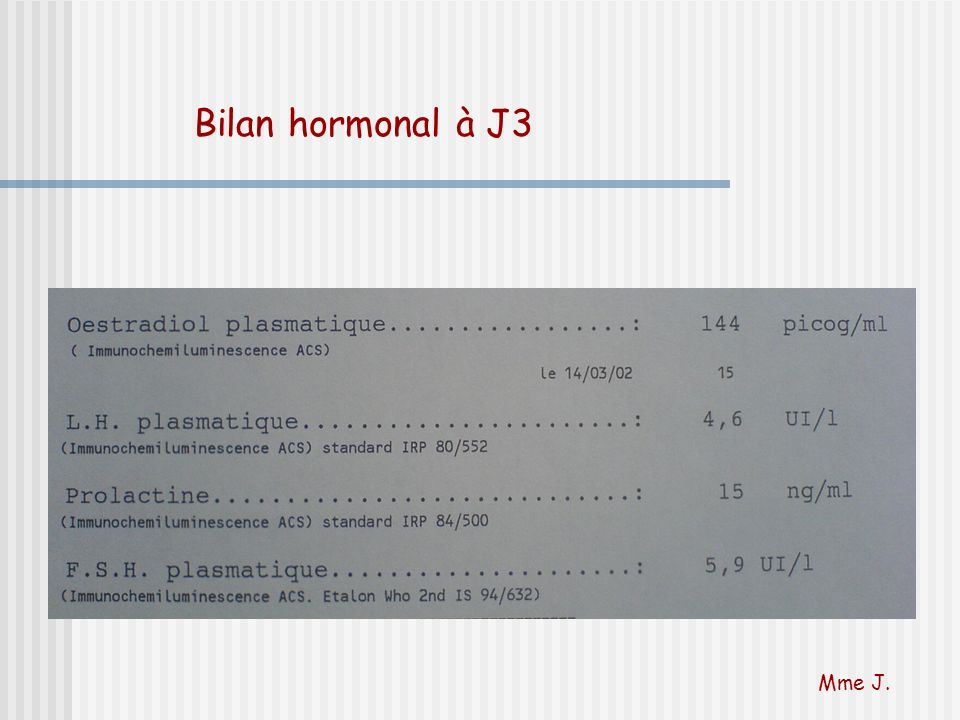 Bilan hormonal à J3 Seul l'estradiol est pathologique, piège classique signe le raccourcissement de la phase folliculaire.