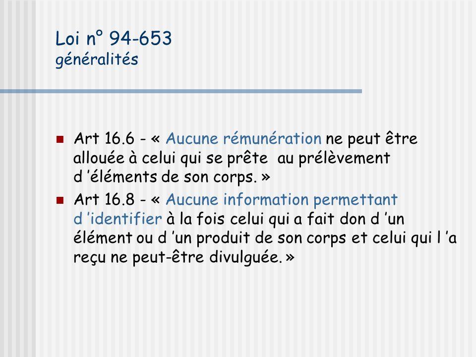 Loi n° 94-653 généralités Art 16.6 - « Aucune rémunération ne peut être allouée à celui qui se prête au prélèvement d 'éléments de son corps. »