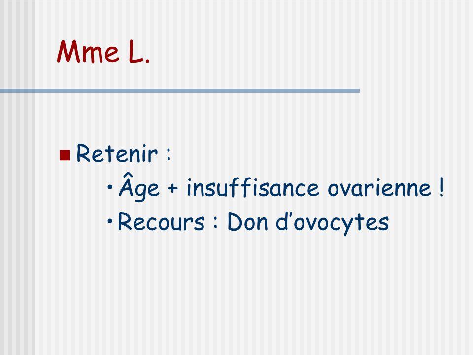 Mme L. Retenir : Âge + insuffisance ovarienne !