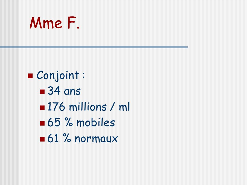 Mme F. Conjoint : 34 ans 176 millions / ml 65 % mobiles 61 % normaux