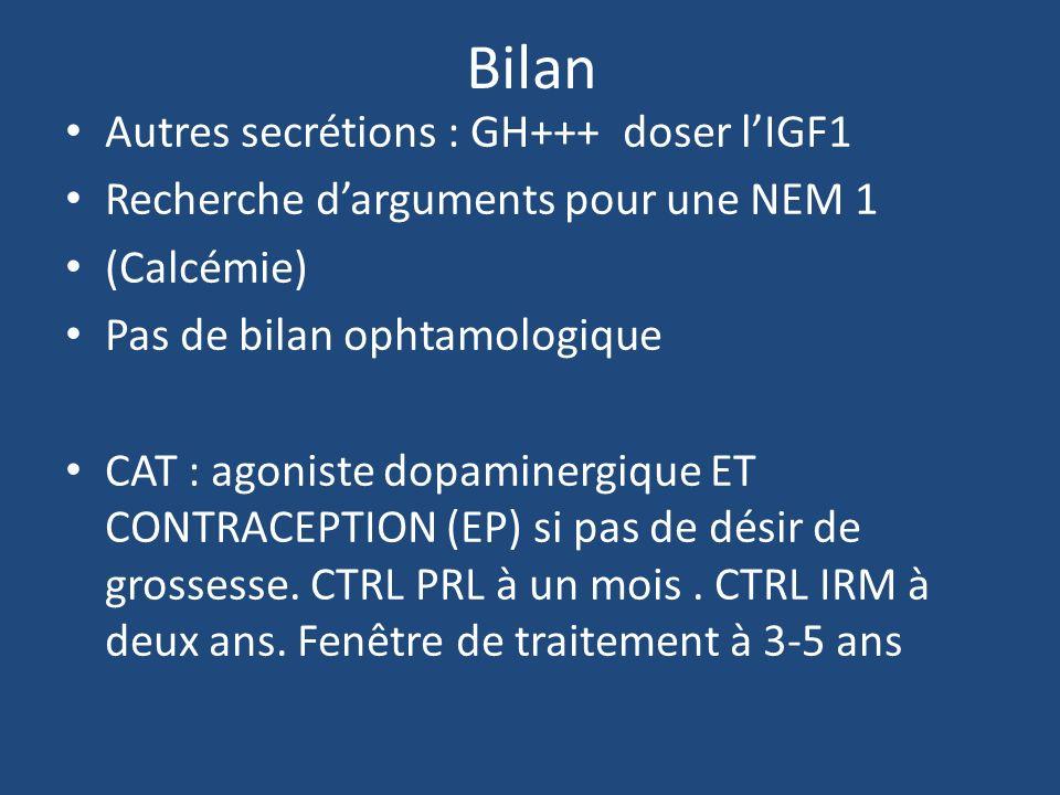 Bilan Autres secrétions : GH+++ doser l'IGF1