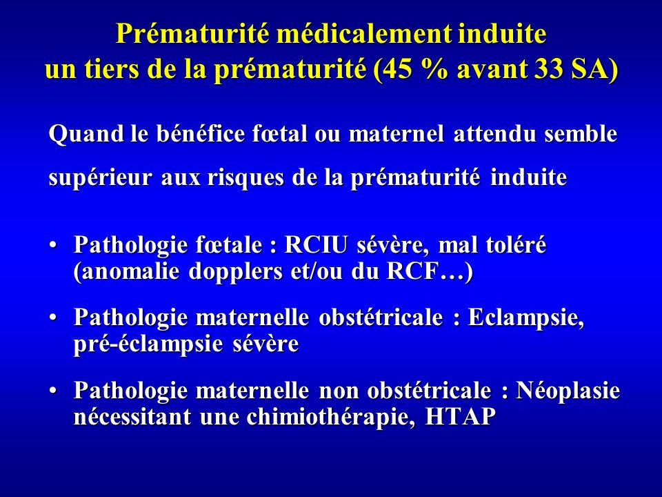 Prématurité médicalement induite un tiers de la prématurité (45 % avant 33 SA)