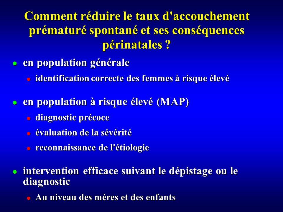 Comment réduire le taux d accouchement prématuré spontané et ses conséquences périnatales
