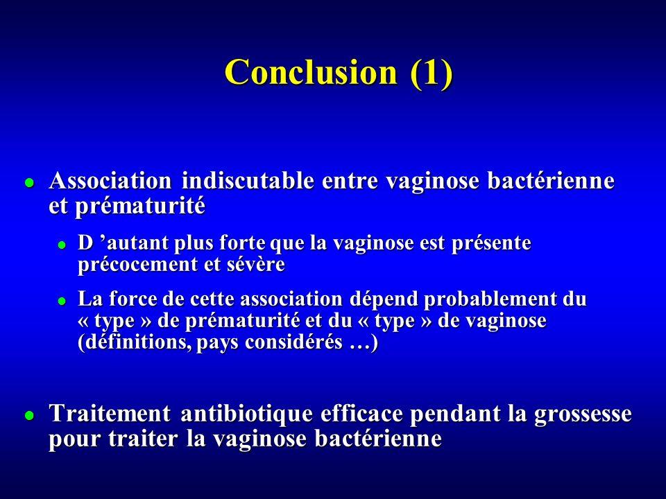 Conclusion (1) Association indiscutable entre vaginose bactérienne et prématurité.