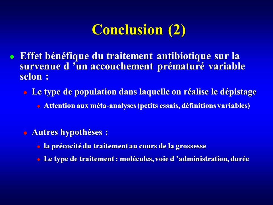 Conclusion (2) Effet bénéfique du traitement antibiotique sur la survenue d 'un accouchement prématuré variable selon :
