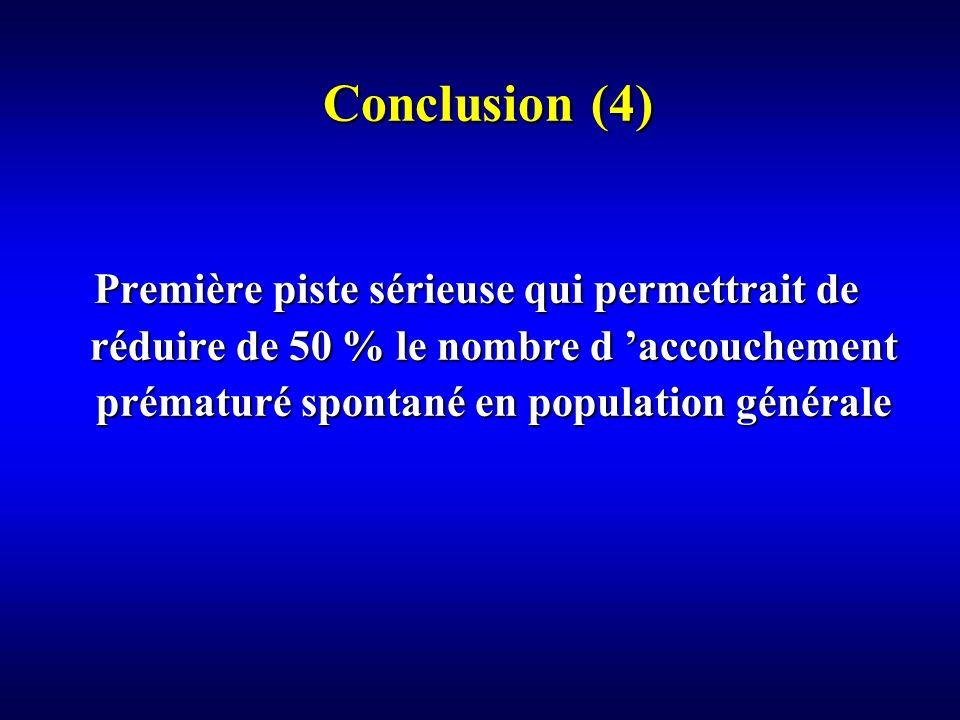 Conclusion (4) Première piste sérieuse qui permettrait de réduire de 50 % le nombre d 'accouchement prématuré spontané en population générale.