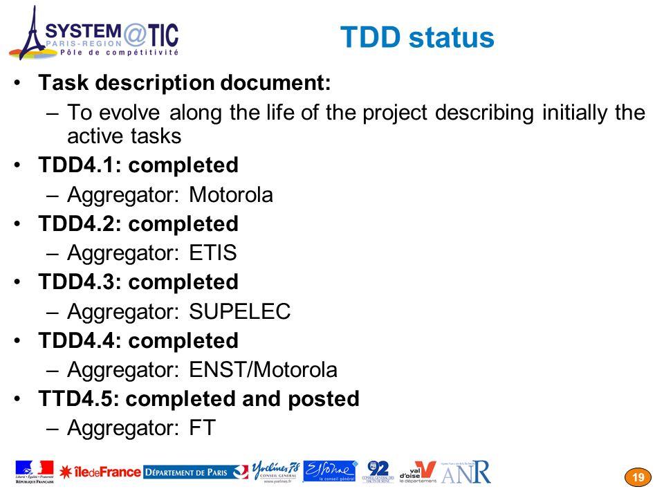 TDD status Task description document: