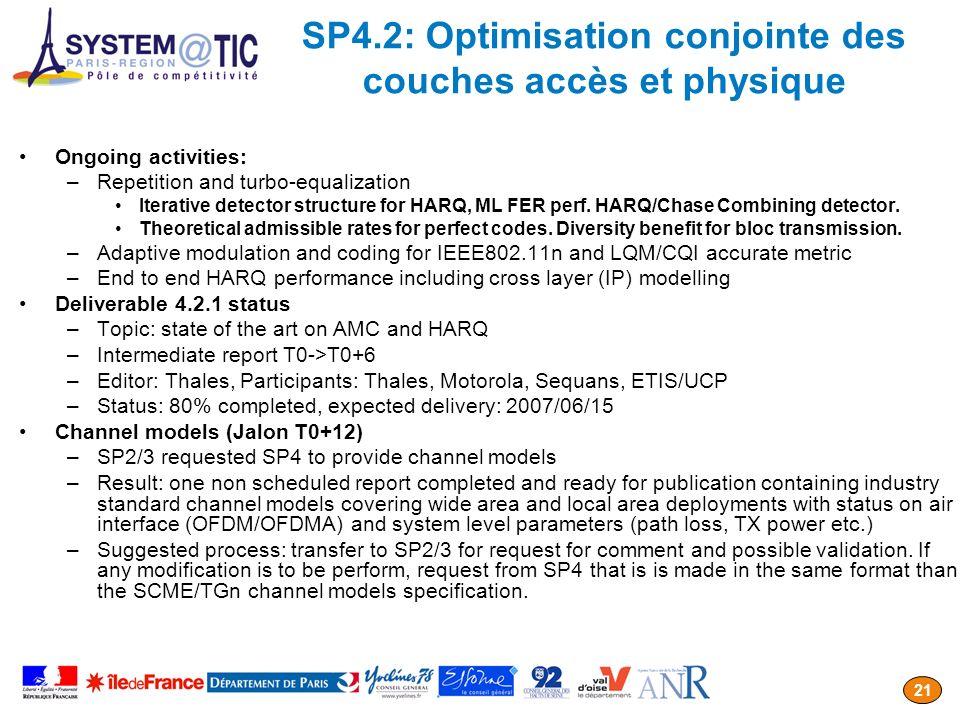SP4.2: Optimisation conjointe des couches accès et physique