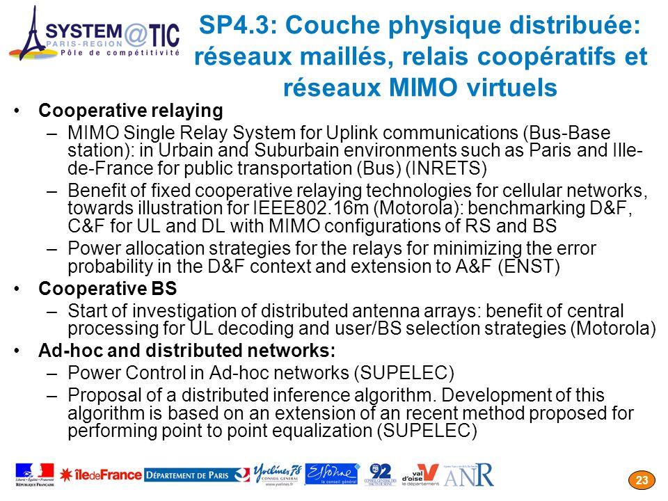 SP4.3: Couche physique distribuée: réseaux maillés, relais coopératifs et réseaux MIMO virtuels
