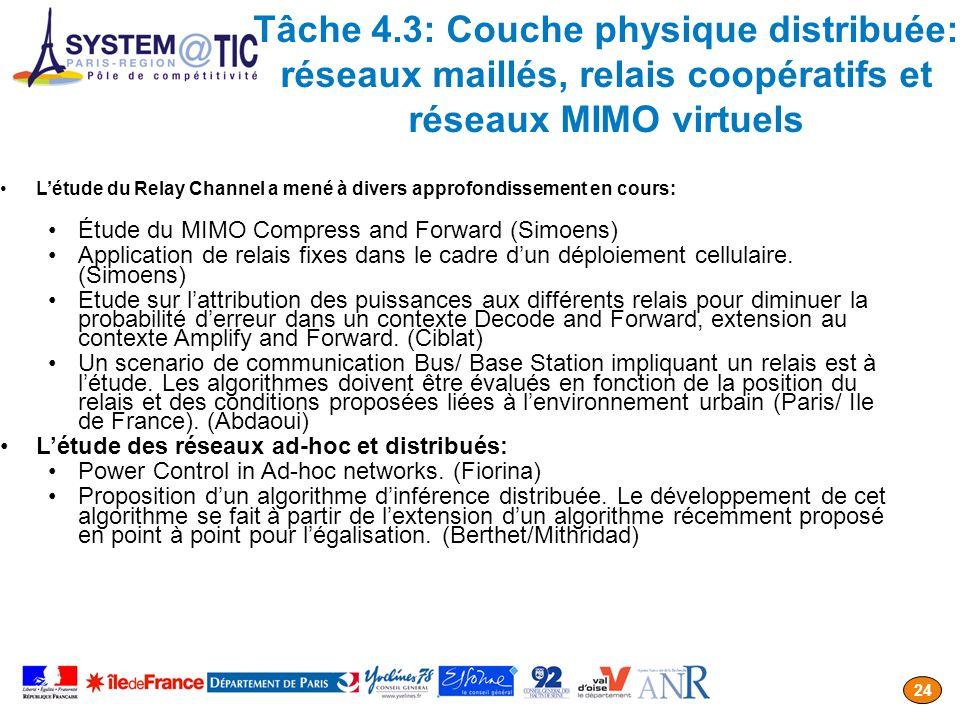 Tâche 4.3: Couche physique distribuée: réseaux maillés, relais coopératifs et réseaux MIMO virtuels