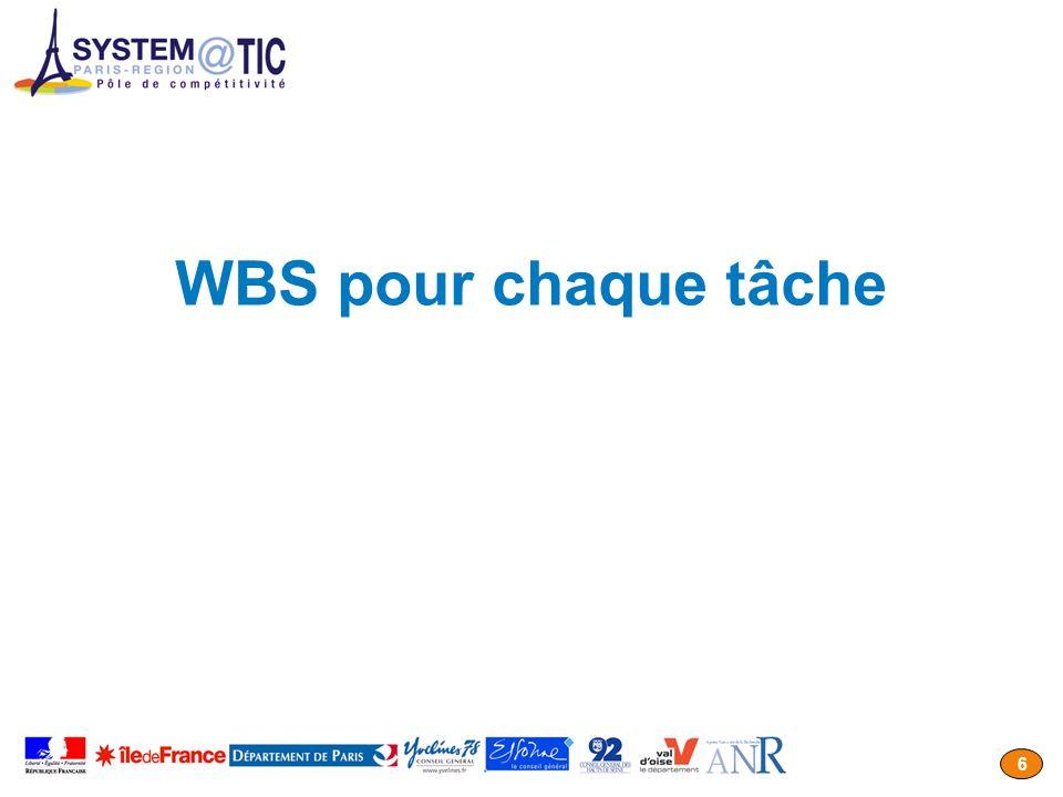 WBS pour chaque tâche