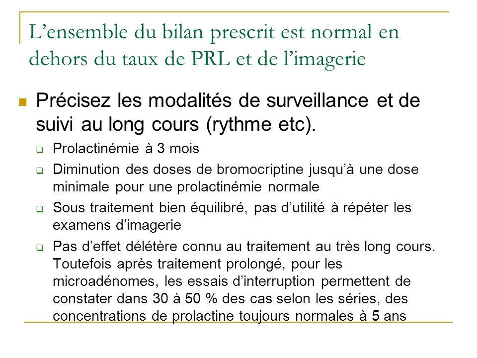 L'ensemble du bilan prescrit est normal en dehors du taux de PRL et de l'imagerie