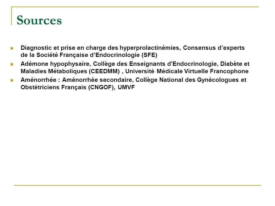 Sources Diagnostic et prise en charge des hyperprolactinémies, Consensus d'experts de la Société Française d'Endocrinologie (SFE)