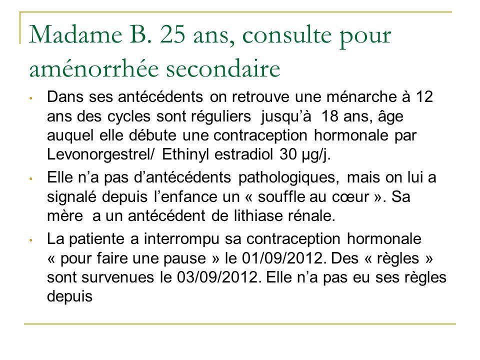Madame B. 25 ans, consulte pour aménorrhée secondaire