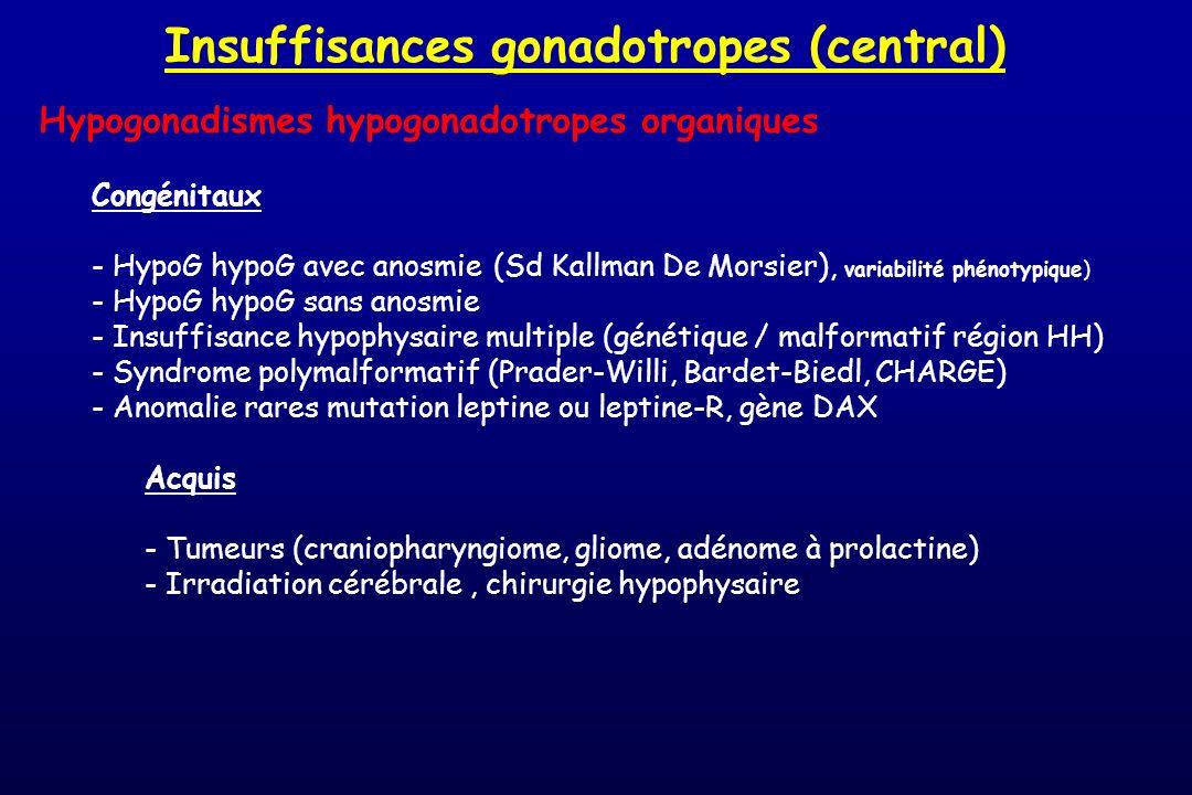 Insuffisances gonadotropes (central)