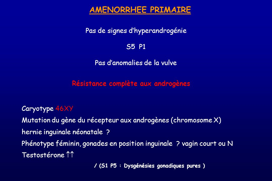 AMENORRHEE PRIMAIRE Pas de signes d'hyperandrogénie S5 P1