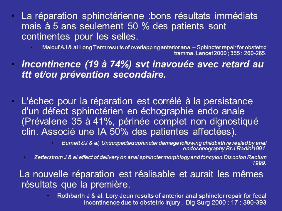 La réparation sphinctérienne :bons résultats immédiats mais à 5 ans seulement 50 % des patients sont continentes pour les selles.