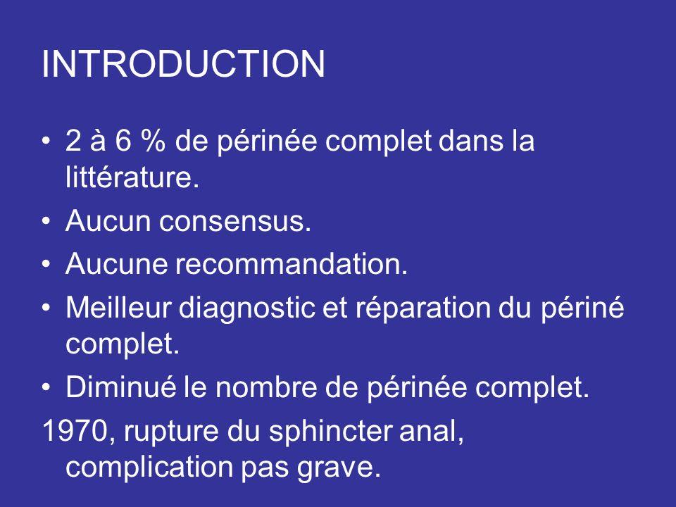 INTRODUCTION 2 à 6 % de périnée complet dans la littérature.