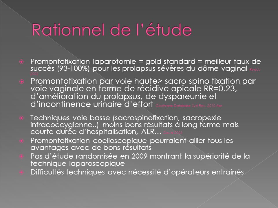 Rationnel de l'étude
