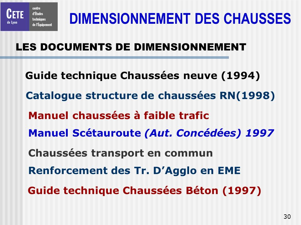 LES DOCUMENTS DE DIMENSIONNEMENT