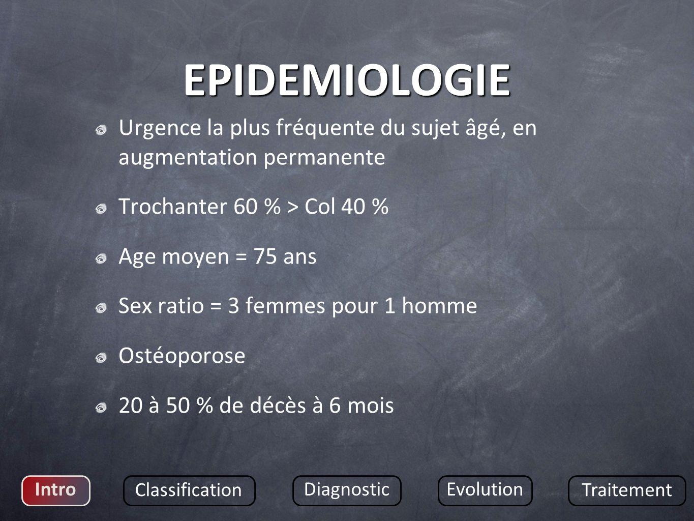 EPIDEMIOLOGIE Urgence la plus fréquente du sujet âgé, en augmentation permanente. Trochanter 60 % > Col 40 %