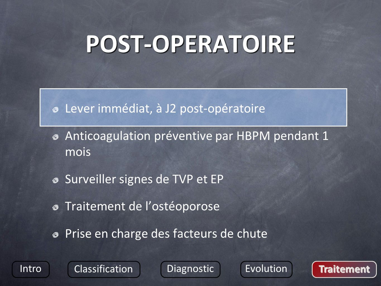 POST-OPERATOIRE Lever immédiat, à J2 post-opératoire