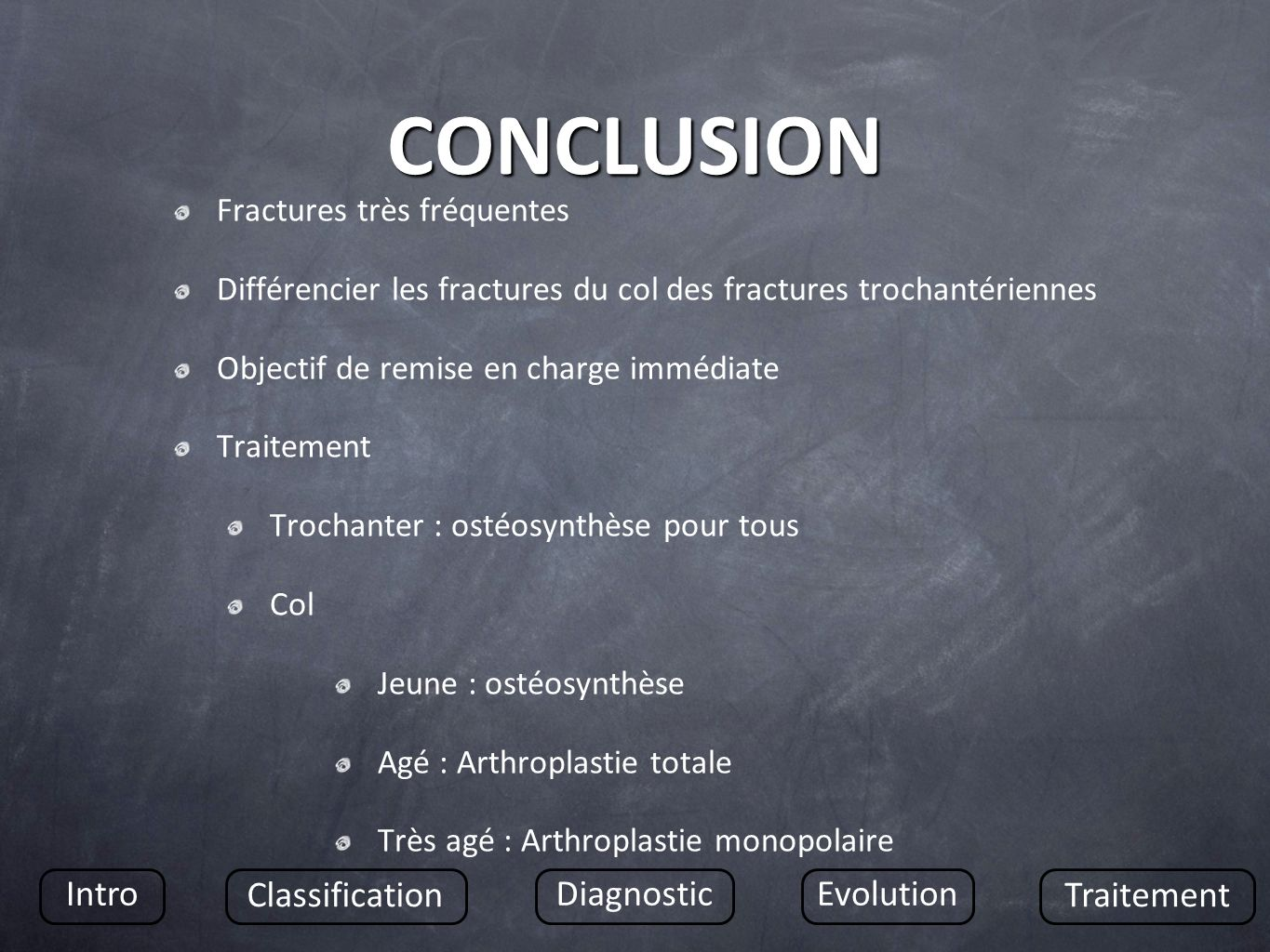 CONCLUSION Intro Classification Diagnostic Evolution Traitement