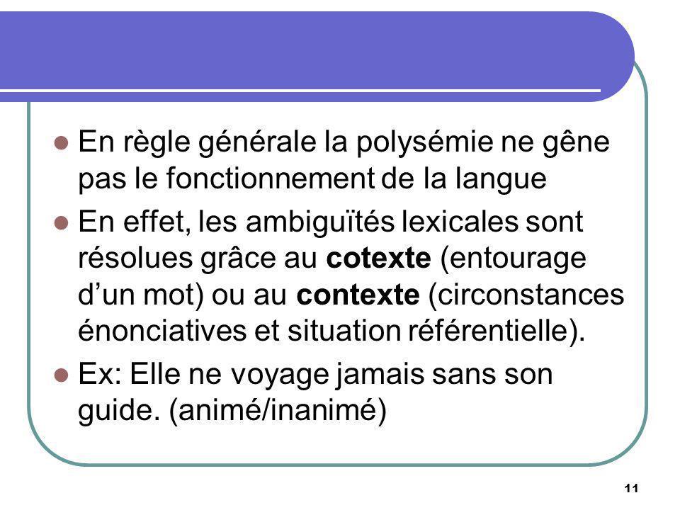 En règle générale la polysémie ne gêne pas le fonctionnement de la langue