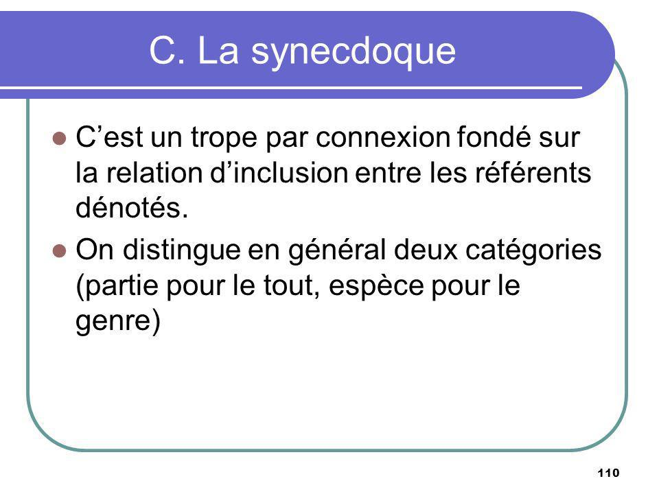 C. La synecdoque C'est un trope par connexion fondé sur la relation d'inclusion entre les référents dénotés.