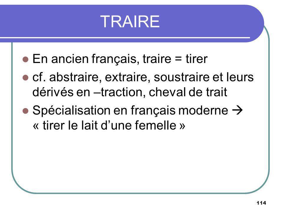 TRAIRE En ancien français, traire = tirer