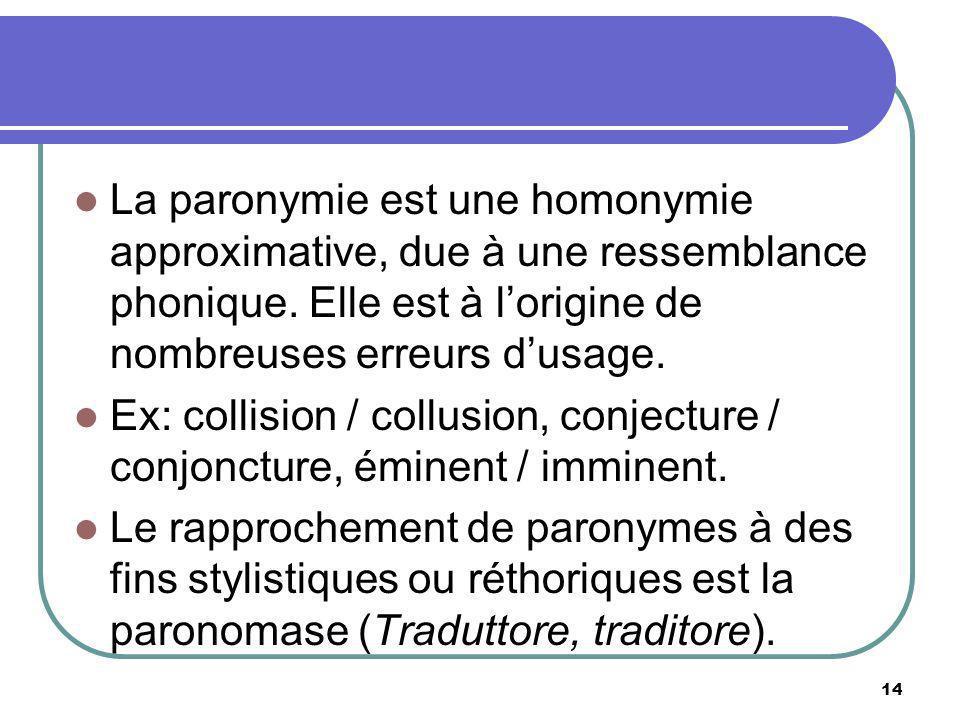 La paronymie est une homonymie approximative, due à une ressemblance phonique. Elle est à l'origine de nombreuses erreurs d'usage.