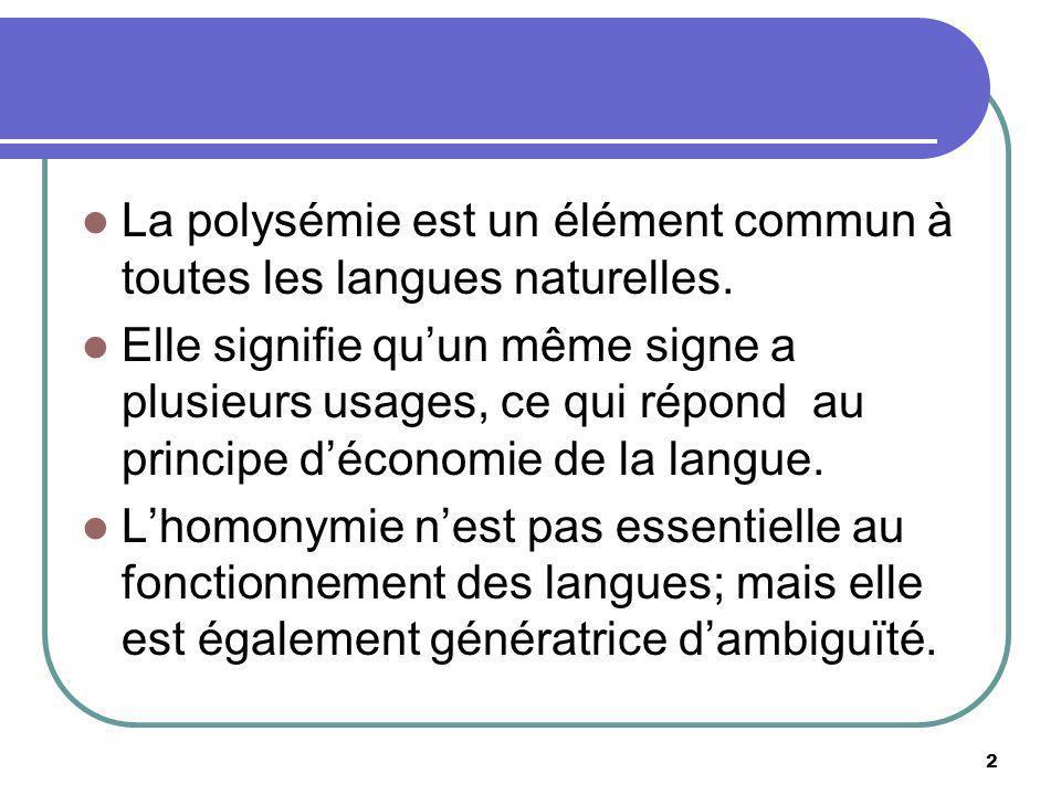 La polysémie est un élément commun à toutes les langues naturelles.