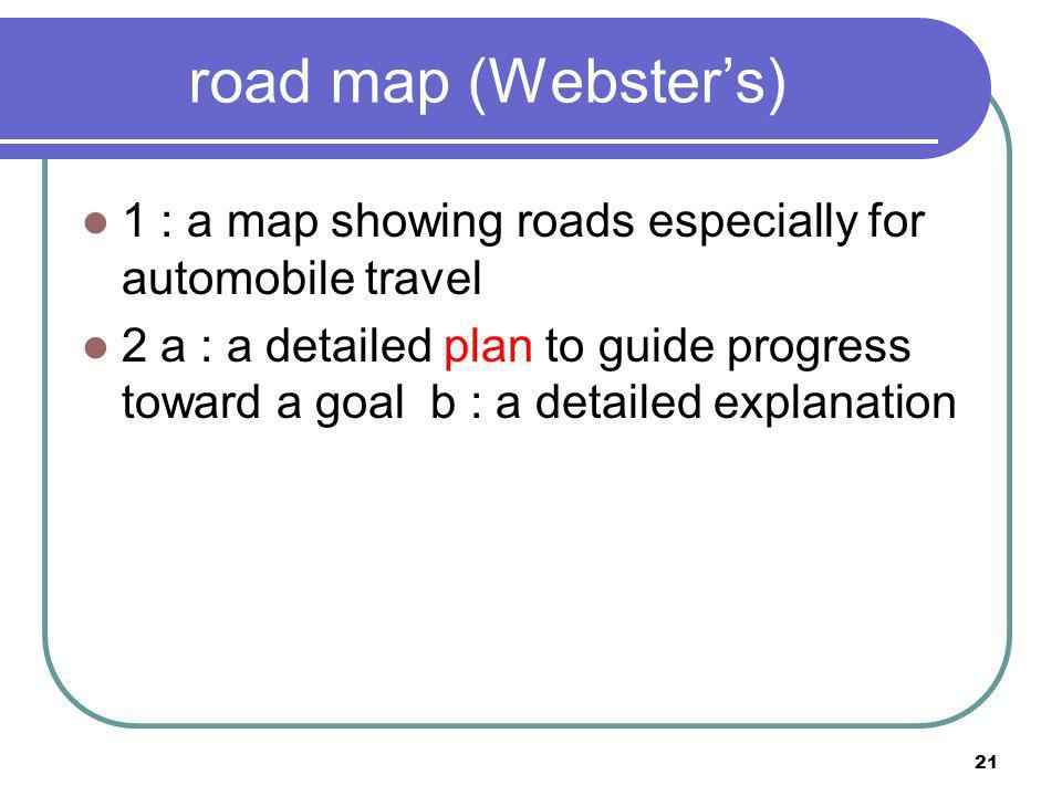 road map (Webster's) 1 : a map showing roads especially for automobile travel.