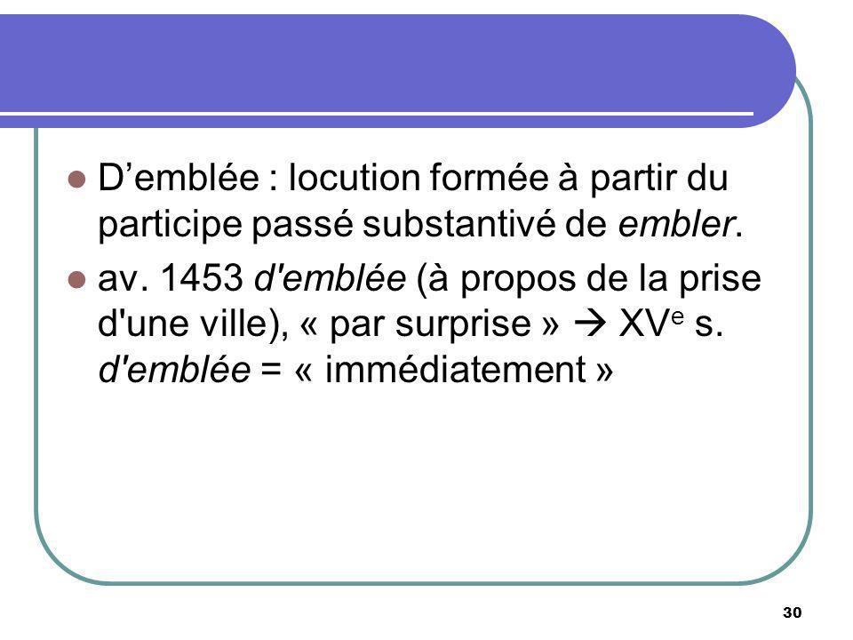 D'emblée : locution formée à partir du participe passé substantivé de embler.