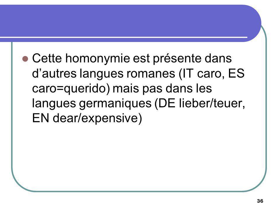 Cette homonymie est présente dans d'autres langues romanes (IT caro, ES caro=querido) mais pas dans les langues germaniques (DE lieber/teuer, EN dear/expensive)