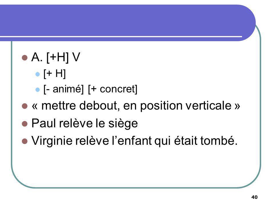 « mettre debout, en position verticale » Paul relève le siège