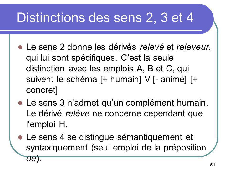 Distinctions des sens 2, 3 et 4
