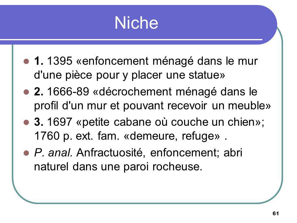 Niche 1. 1395 «enfoncement ménagé dans le mur d une pièce pour y placer une statue»