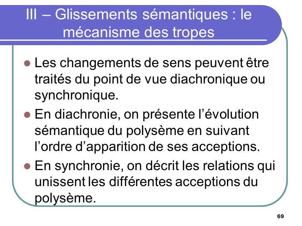 III – Glissements sémantiques : le mécanisme des tropes