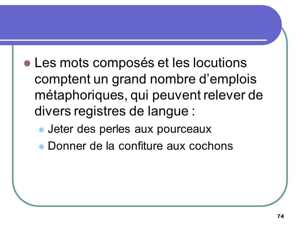 Les mots composés et les locutions comptent un grand nombre d'emplois métaphoriques, qui peuvent relever de divers registres de langue :