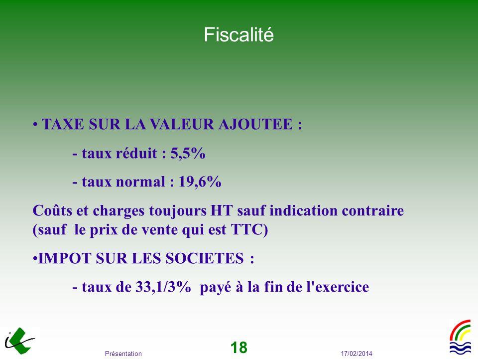 Fiscalité TAXE SUR LA VALEUR AJOUTEE : - taux réduit : 5,5%