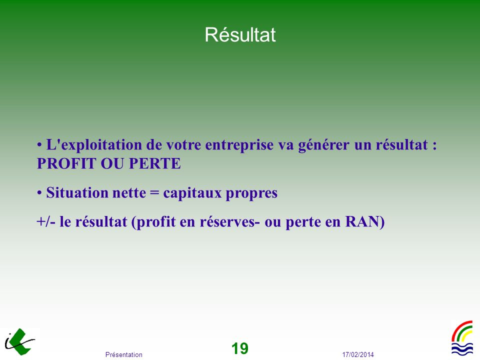 RésultatL exploitation de votre entreprise va générer un résultat : PROFIT OU PERTE. Situation nette = capitaux propres.