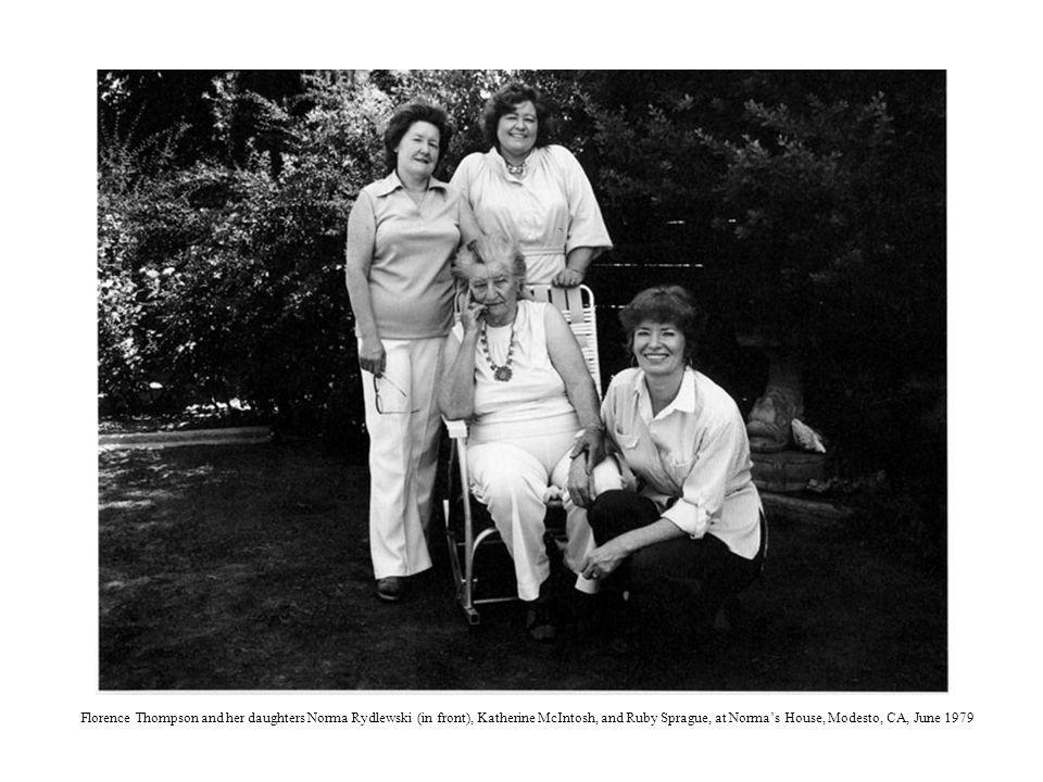 Florence Thompson and her daughters Norma Rydlewski (in front), Katherine McIntosh, and Ruby Sprague, at Norma's House, Modesto, CA, June 1979